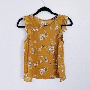 ❗3/$20 Mustard Yellow Sleeveless Ruffles Blouse